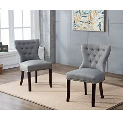 DAGONHIL Fabric Dining/Accent Chairs (set of 2)with Brown Solid Wooden Legs,Nailed Trim (Gray)