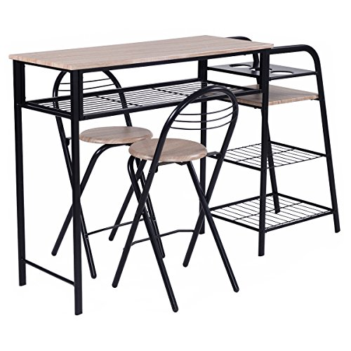 Pc Square Pub Table Set: Giantex 3 PC Pub Dining Set Table Chairs Counter Height