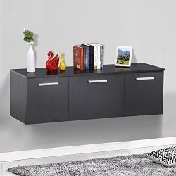 Yaheetech 3 Door Wall Mount Buffet Floating Media Storage Cabinet Desk Hutch Living/Dining Room  ...