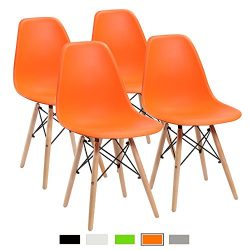 Furmax Pre Assembled Mid Century Modern Style Dining Chair Eames Effiel Modern DSW Chair, Shell  ...