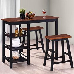 Harper&Bright Designs Tampa Series Dining 3-Piece Table Set Counter Height with Storage Shel ...