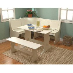 Charming Breakfast Nook 3-Piece Corner Dining Set, Includes Table, Bench, and Nook Bench with Se ...