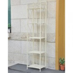 """Outdoor Garden Artica 5 Tier Folding Bakers Rack Made from Premium Iron in White Finish 74"""" ..."""