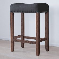 Nathan James 21305 Hylie Wood Counter Kitchen Bar Stool, 24″, Antique Coffee