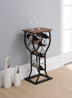 Vintage Brown Finish Top and Black Metal with 11 Bottle Holder Wine Organizer Rack Kitchen