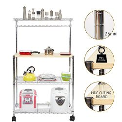 Dporticus 4 Tier Adjustable Kitchen Bakers Storage Rack Rolling Microwave Oven Stand Shelf with  ...