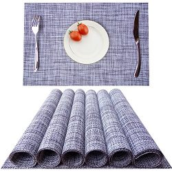 KOKAKO Placemats, Heat-resistant Dining Table Placemats Stain Resistant Anti-skid Washable PVC K ...