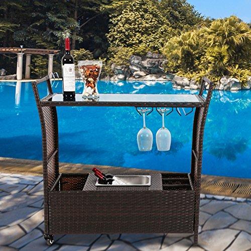 Outdoor Kitchen Jackson Ms: Kinbor Outdoor Patio Rattan Wicker Serving Bar Cart