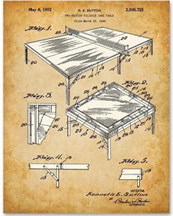 Ping Pong Table Tennis Art Print – 11×14 Unframed Patent Print – Great Decor fo ...