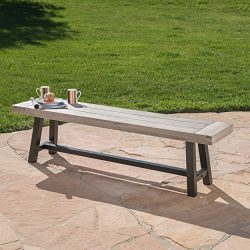 Cassie Outdoor Light Grey Sandblast Finish Acacia Wood Dining Bench with Black Rustic Metal Fini ...