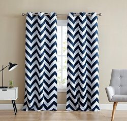 HLC.ME Chevron Print Thermal Insulated Room Darkening Blackout Window Curtain Panels for Living  ...
