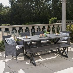 Owenburg Outdoor 6 Piece Grey Aluminum Dining Set with Bench and Grey Wicker Dining Chairs with  ...