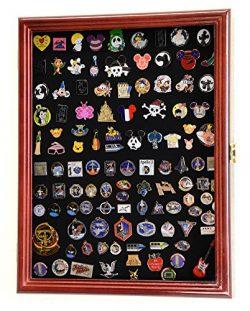 Lapel Pin Pins Display Case Cabinet Wall Rack Holder Disney Hard Rock Military Pins (Cherry FInish)