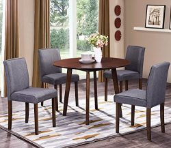 Harper&Bright Designs Round Wood Dining Table with 4 Fabric Chairs (Walnut)