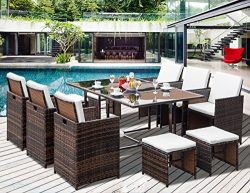 Leisure Zone 11-Piece Outdoor Rattan Wicker Patio Dining Table Set Garden Outdoor Patio Furnitur ...