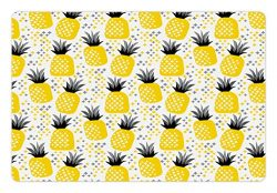 Ambesonne Exotic Pet Mat for Food and Water, Pineapples Tropic Accents Coastal Theme Beach Islan ...