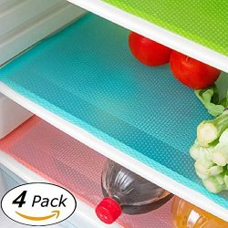 Wild Tribe 4 Pack Refrigerator Mats, EVA Refrigerator Liners Washable Can Be Cut Refrigerator Pa ...