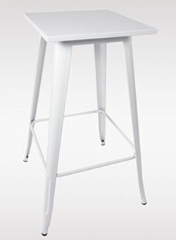 Duhome 23.6″ Square Metal Bar Table 39″ Bar Height Indoor Outdoor Pub Side Stool Tab ...