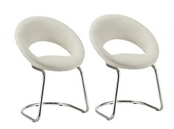 Crescent Guest Chair with Cantilever Sled Base, Set of 2 Duhome WY-679 Stool (White)