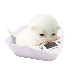 Digital Pets and Kitchen Scale For New Born Puppy or Small Kitty With a Free Pet Food Bowl (White)