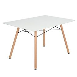 "GreenForest Dining Table Rectangular Top with Wooden Legs Modern Leisure Coffee Table 44""  ..."