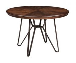 Signature Design by Ashley D372-15 Round Mid Century Modern Style Centiar Dining Room Table, Cen ...