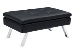 DHP Chelsea Upholstered Ottoman with Chrome Legs and Plus Pillow-Top Seating, Black Faux Leather