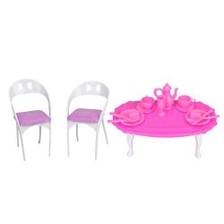 Baoblaze 1/6 Scale Table Tableware Chair Kitchen Furniture for Barbie Dollhouse Dining Rooms Act ...