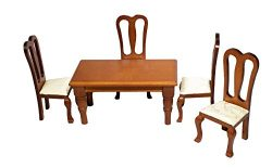 Inusitus Set of Dollhouse Dining Table & Chairs – Wooden Dolls House Dinning Furniture ...