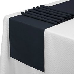 VEEYOO 10 Pieces 14×108 100% Polyester Table Runner for Restaurant Kitchen Dining Wedding P ...