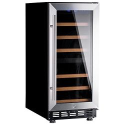 Lanbo 15″ Wide 28 Bottles Quiet Wine Cooler, Dual Zone Free Standing Wine Refrigerator wit ...