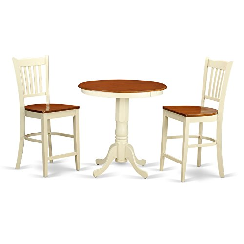 Balboa Counter Height Table Stool 3 Piece Dining Set: East West Furniture EDGR3-WHI-W 3 Piece High Top Table And