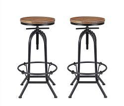 VILAVITA Set of 2 Bar Stools 27.5″ to 31.5″ Adjustable Height Pine Wood Swivel Bar S ...