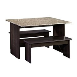 Sauder 413854 Table with Benches, 47″ L x 35.875″ W x 29″ H, Cinnamon Cherry