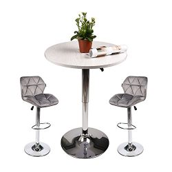 Pub Table with Bar Stools Set for Kitchen Home Dining Room (Gray set D)