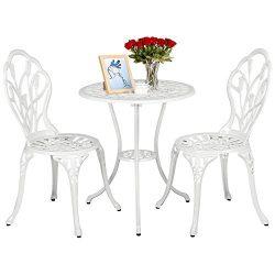 Yaheetech Outdoor Setting Cast Bistro Table Chair Vintage Patio 3-Piece Bistro Set Tulip Design ...