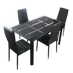 Bonnlo 5 Pieces Dining Table Set for 4 Glass Top Modern Dining Table and Chair Set