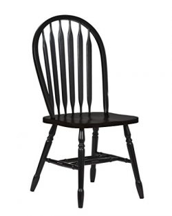 Sunset Trading Arrowback Dining Chair in Antique Black, Set of 2, 38″, Antique Black