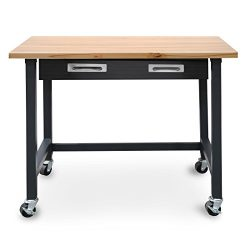 Seville Classics UltraGraphite Wood Top Workbench on Wheels with Organizer Drawer, 48″ W x ...