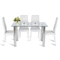 5 Piece Kitchen Dining Set, 1 Glass Top Table & 4 Leather Chairs Kitchen (5 PC/White)
