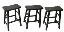 24″ Heavy Duty Saddle Seat Barstool in Antique Black, Set of 3