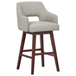 Rivet Malida Mid-Century Open Back Swivel Bar Stool, 41″ H, Felt Grey