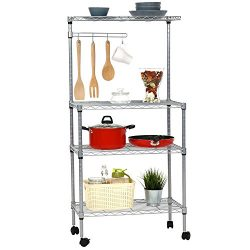 Peach Tree 4-Tire Baker Rack Rolling Microwave Oven Stand Shelf Storage Cart