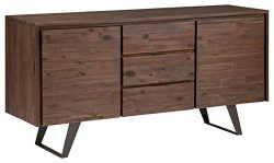 Simpli Home Lowry Sideboard Buffet, Distressed Charcoal Brown