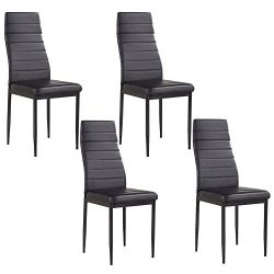 Mecor Set of 4 Stunning Dining Chairs Comfortable Leather Dining Room Furniture, Black