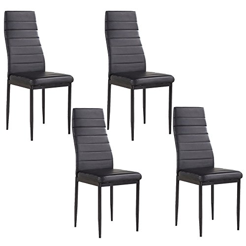 mecor set of 4 stunning dining chairs comfortable leather dining room furniture black. Black Bedroom Furniture Sets. Home Design Ideas