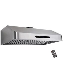 Golden Vantage 30″ Under Cabinet Stainless Steel LED Display Touch Control Cooking Fan Ran ...