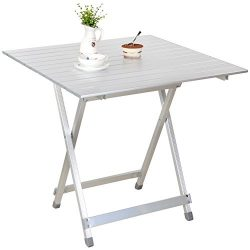 Snail Portable Aluminum Compact Fold-Away Side Table, Outdoor Camping Picnic Dining Table in a C ...