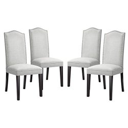 LANGRIA Modern Dining Chairs Faux Linen Upholstered Dining Room Chair Set High Back with Silver  ...