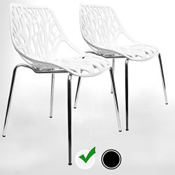UrbanMod Modern Dining Chairs (Set of 2) by, White Chairs, KID-FRIENDLY Birch Chairs, Stackable  ...